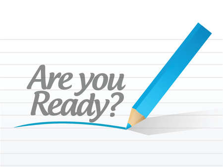 are you ready question message illustration design over white Vector