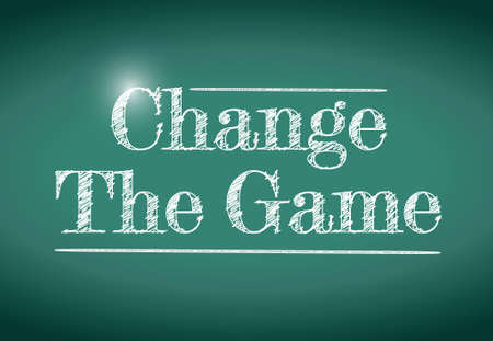 change the game message written on a chalkboard. illustration design Vector