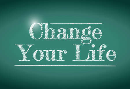 change your life message written on a chalkboard. illustration design Ilustração