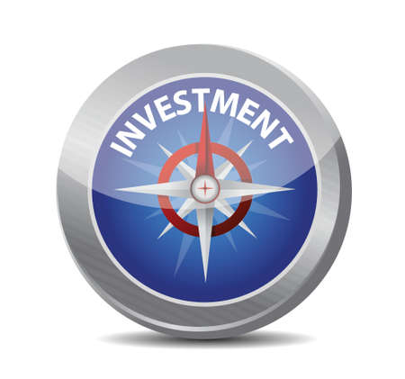 opportunity: compass to investment. illustration design over white