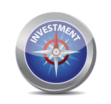 strategist: compass to investment. illustration design over white