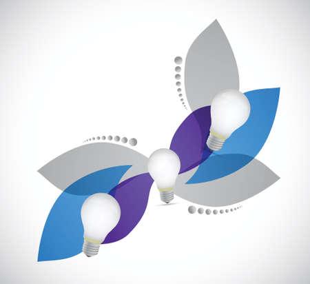 leaves and idea light bulb illustration design over white Illustration