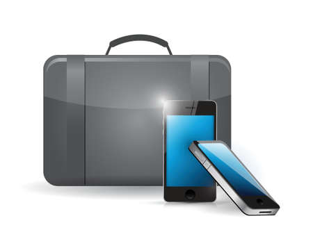 suitcase and set of phones. illustration design  Vector