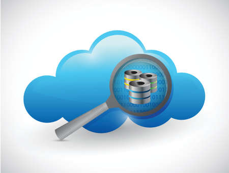 cloud concept magnify data server illustration design over white Vector