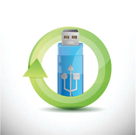 usb and processing concept illustration design  Vector