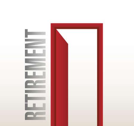 farewell: retirement door open illustration design