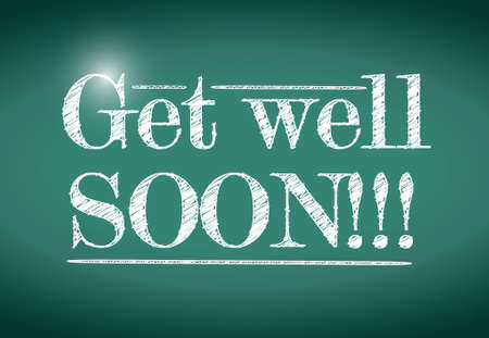 get well: get well soon message illustration design over a chalkboard