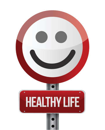 supplements: healthy life road sign illustration design Illustration