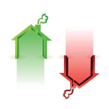house market up and down illustration design over white