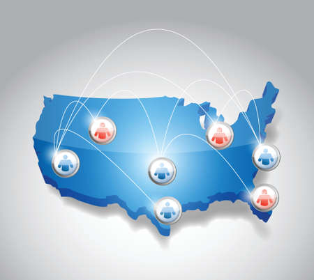 conference call: usa network communication illustration design over white Illustration