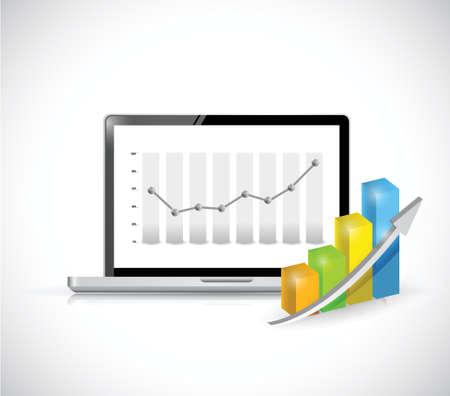 laptop and business graph illustration design