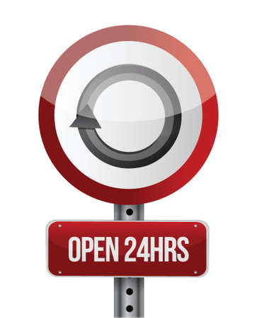 open 24 hours road sign illustration design over white Stock Vector - 22444824