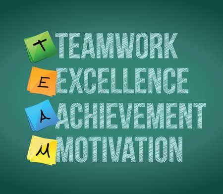 teamwork educational concept illustration design over a chalkboard Vector