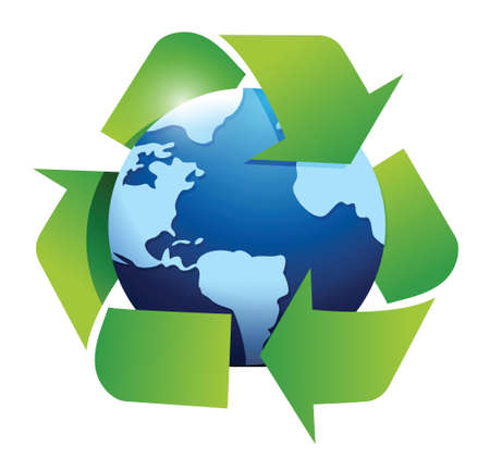 globe and recycle symbol illustration design over white Vector