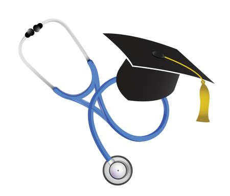 enfermera con cofia: estetoscopio m�dico graduaci�n ilustraci�n, dise�o en blanco