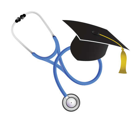 school nurse: medical graduation stethoscope illustration design over white Illustration