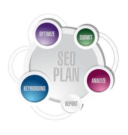 keywords link: seo plan circle cycle illustration design over white