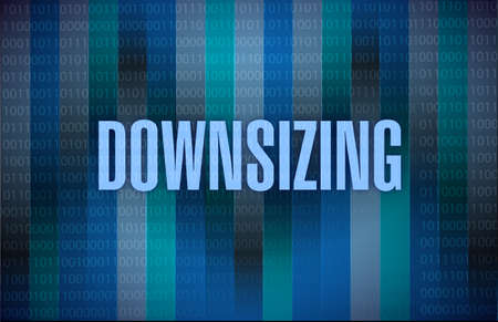 downsized: downsizing text on a binary background. illustration design