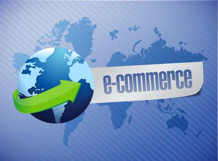 commerce: e commerce. world map illustration design