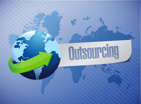 outsourcing world map illustration design  Stock Photo