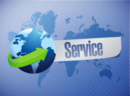 global service world map illustration design