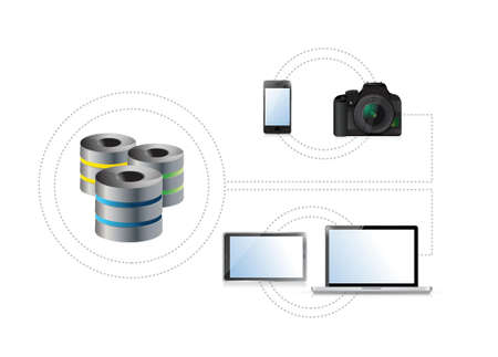 storage device: electronics connected to a storage device or server. illustration design over white
