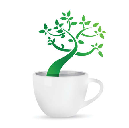 coffee mug with a tree growing inside. illustration design over white Vectores