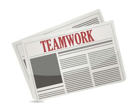 article marketing: teamwork headline on a newspaper. illustration design over white