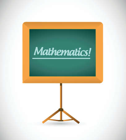 chalkboard presentation board with the word mathematics. illustration design over white