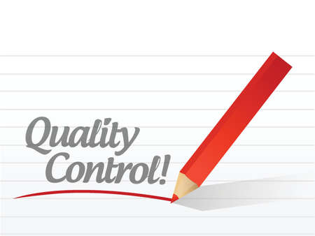 qc: quality control text written message illustration design over white Illustration