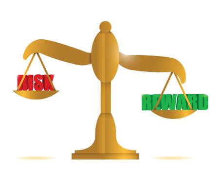 risk and reward balance illustration design over white Stock Illustratie
