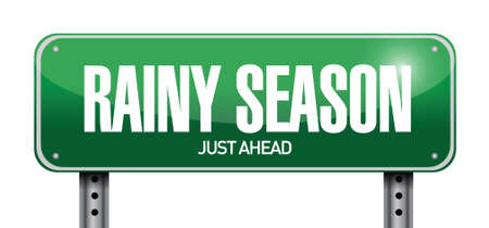 rainy season just ahead road illustration design over a white background