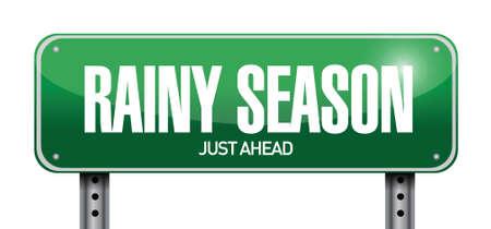 rainy season: rainy season just ahead road illustration design over a white background
