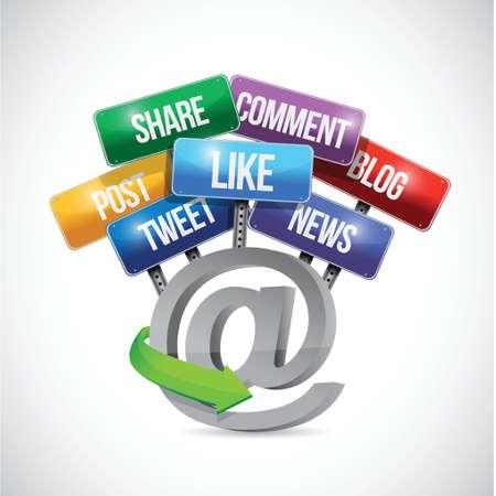 白い背景の上のオンラインのソーシャル メディア道路標識イラスト デザイン
