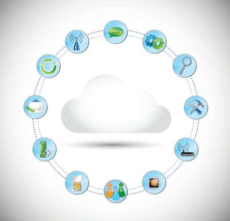 public folder: cloud computing tools connection illustration design over white