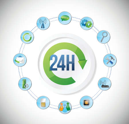 24 hour: 24 hour app service tool concept illustration design over a white background
