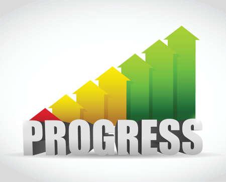 白い背景の上進歩ビジネス グラフ イラスト デザイン