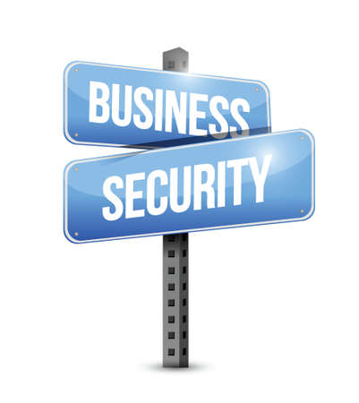 online privacy: business security road sign illustration design over white Illustration