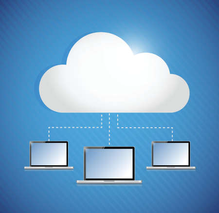 cloud computing storage connected to laptop. illustration design Vector