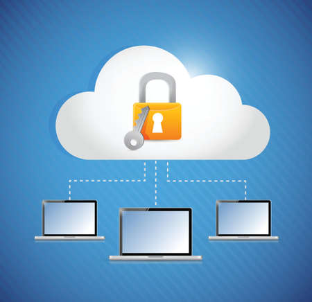 secured laptop and cloud storage connection. illustration design Vector