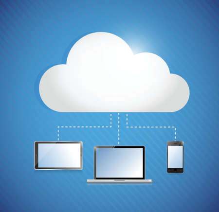 cloud computing storage connected to electronics. illustration design