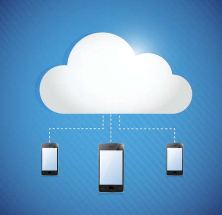 cloud computing storage connected to phones. illustration design Vector