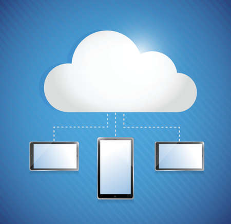 cloud computing storage connected to tablets. illustration design Stock Vector - 22590019