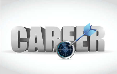 employment issues: career text radar and dart. illustration design over white
