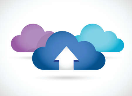 cloud computing up arrow illustration design over white Stock Vector - 22590026