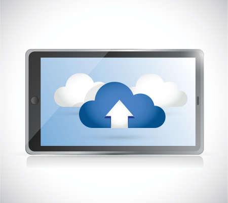 accessing: tablet y un conjunto de nubes. ilustraci�n, dise�o en blanco