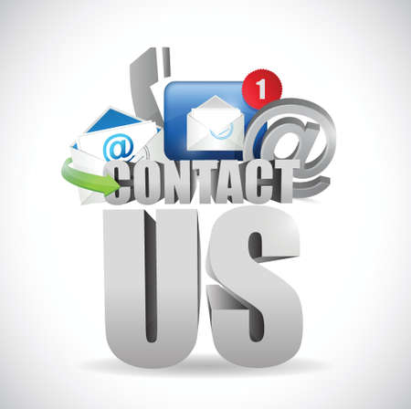 contact us 3d text concept illustration design over white Vettoriali