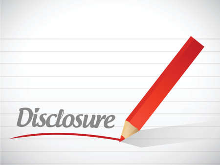 disclosure: disclosure message written over a paper background