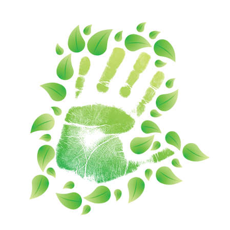 handprint with leaves around. illustration design over white Vector