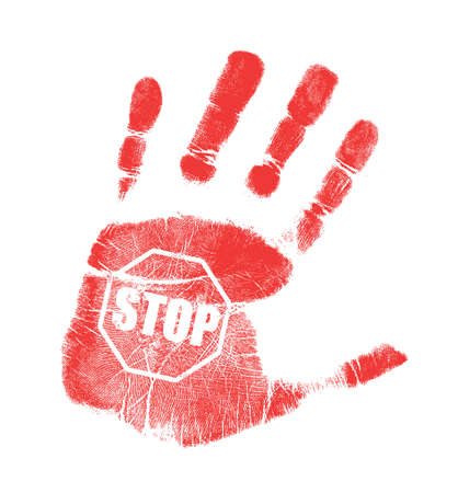 stop piracy: handprint stop sign illustration design over a white background